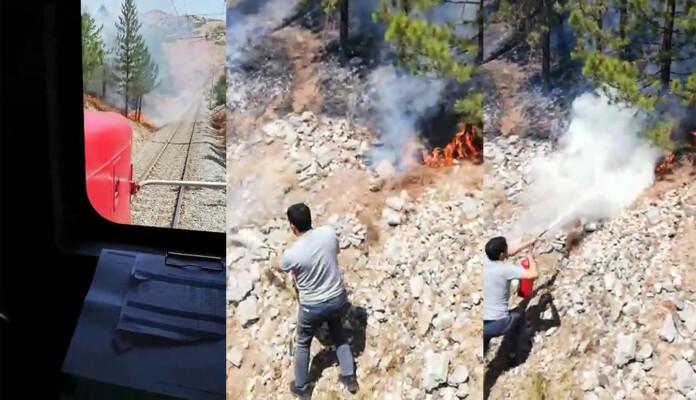 Yangını gören makinist treni durdurdu!